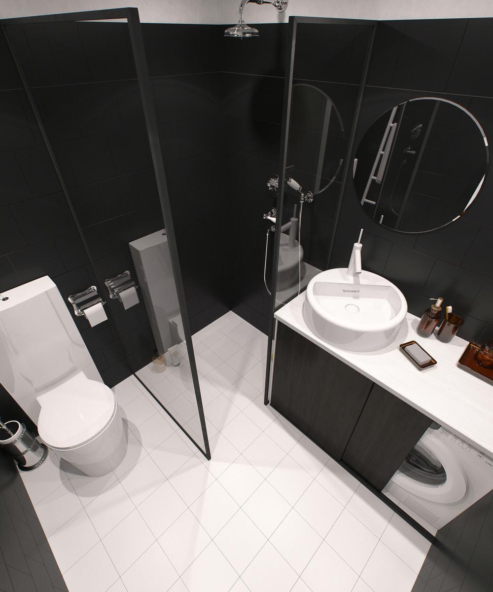 cuarto baño tonos oscuros