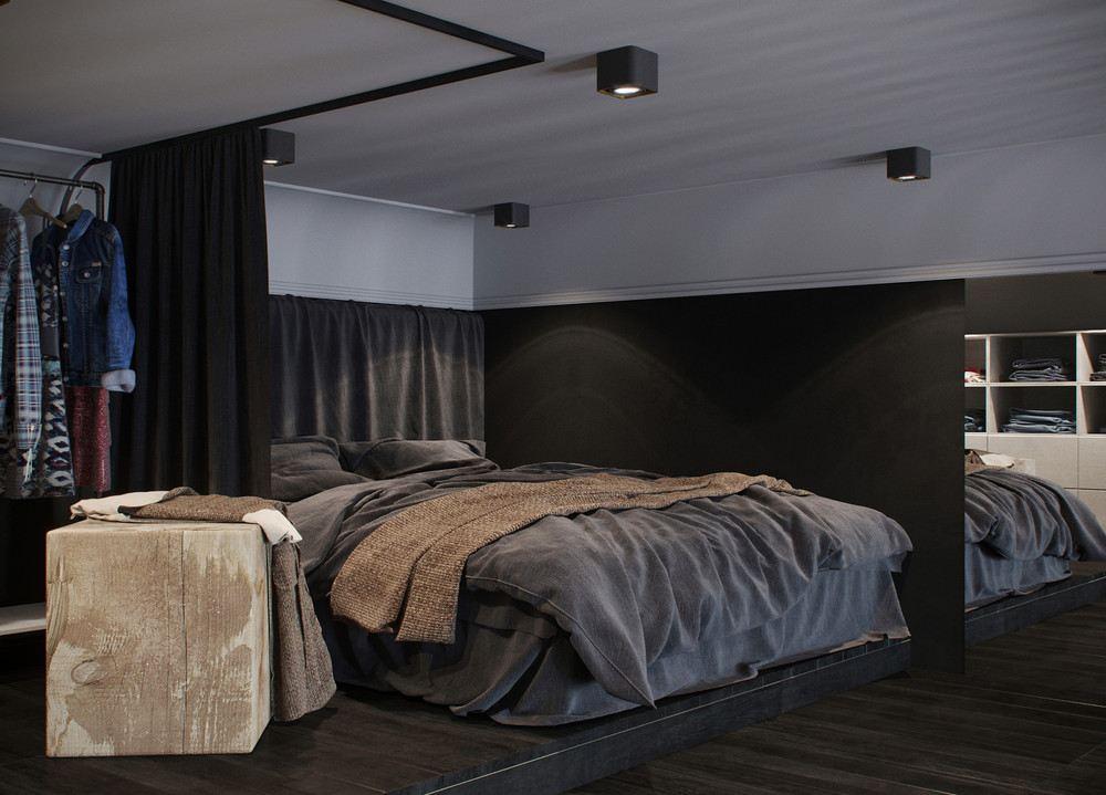 diseño habitación tonos grises