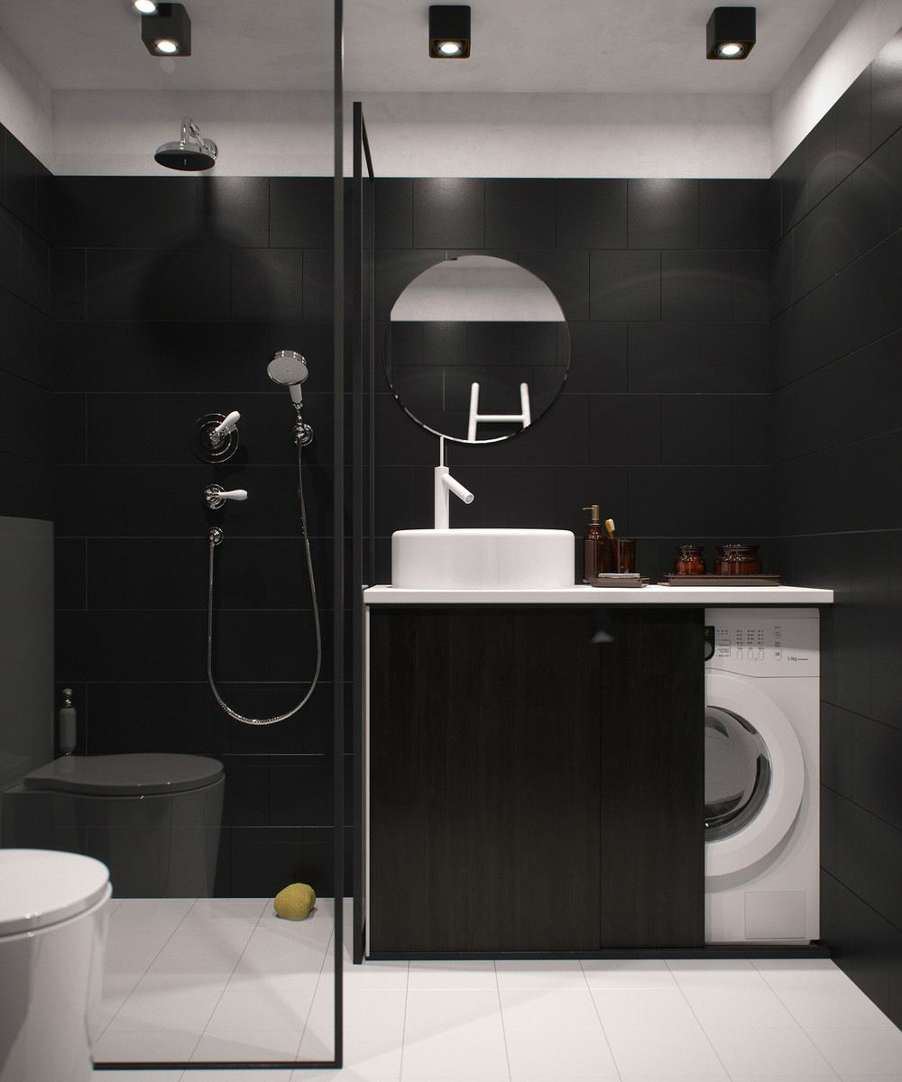 oscuro baño pequeño moderno