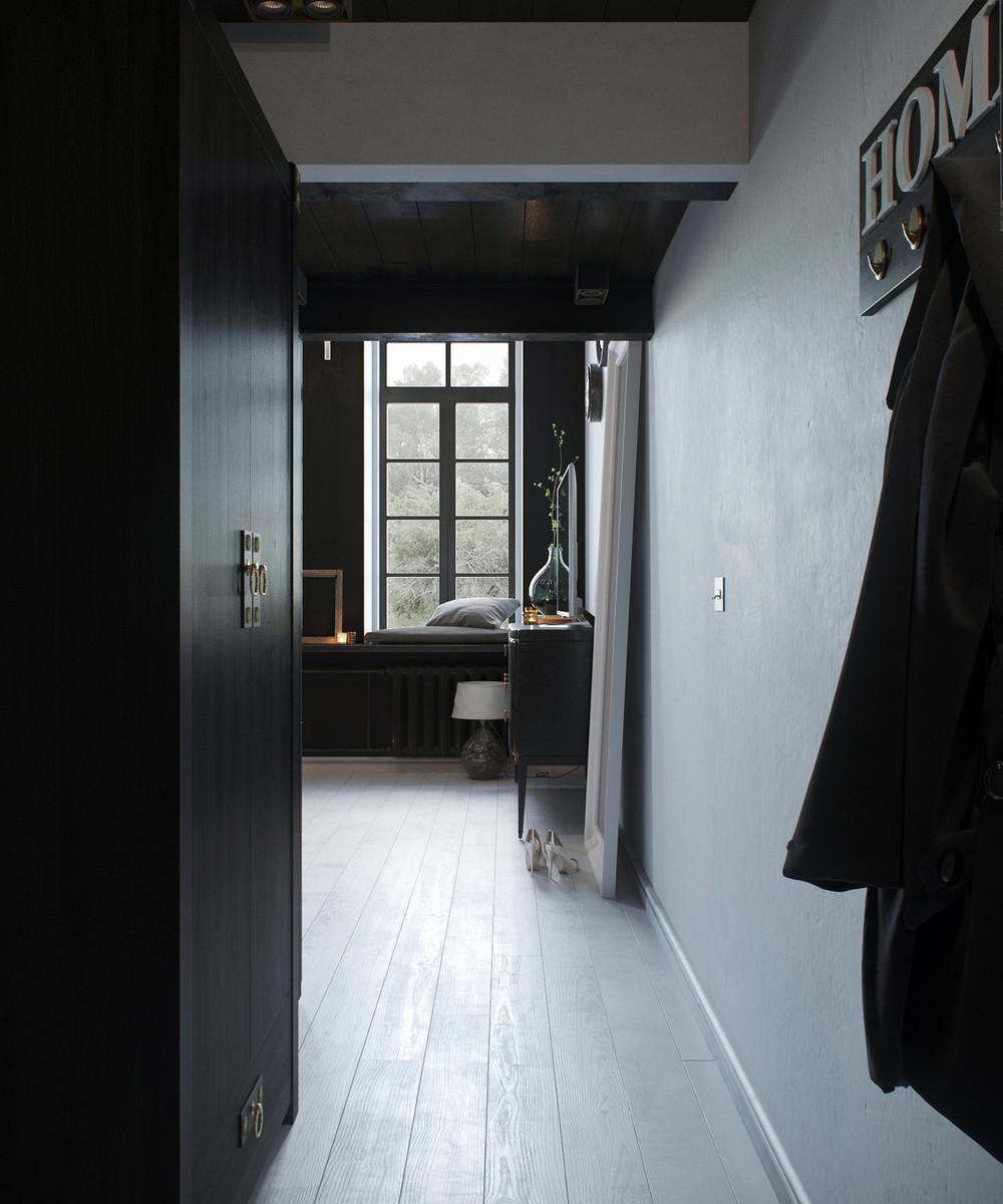 oscuro diseño pasillo loft