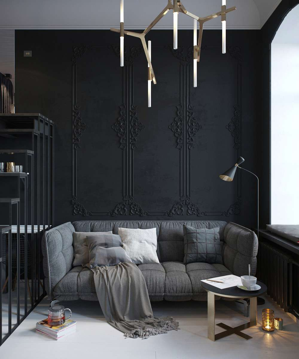 oscuro sala estar sofá