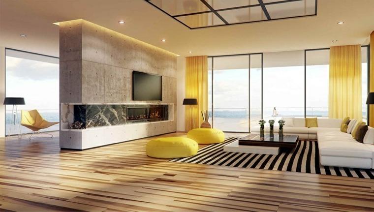 otomanas amarillas ideas salon luminoso moderno