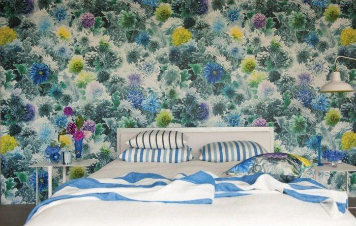 papel pared dormitorio estampa floral ideas