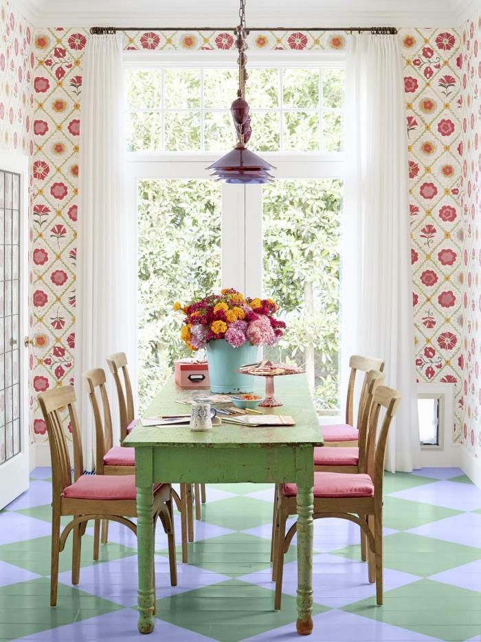papel pared estampa floral opciones decorar comedor ideas