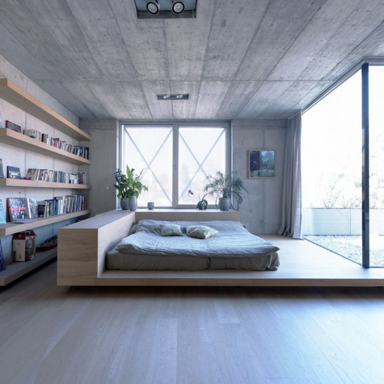 pared hormigon casa cama madera ideas
