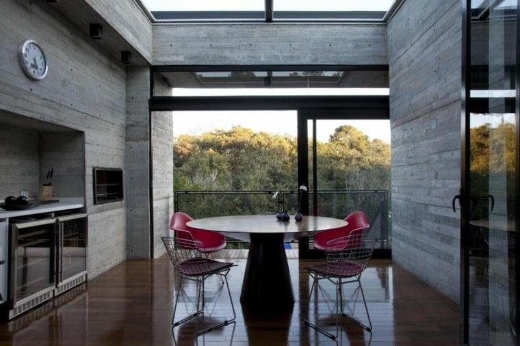pared hormigon casa comedor cocina mismo espacios ideas