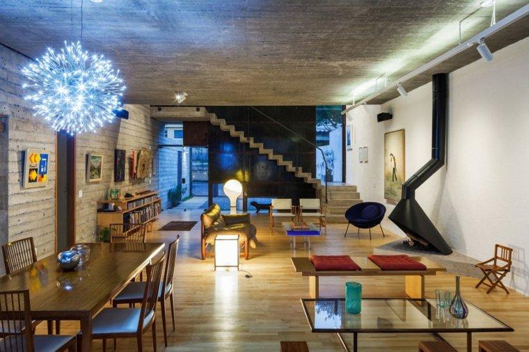 pared hormigon casa diseno abierto espacio amplio ideas