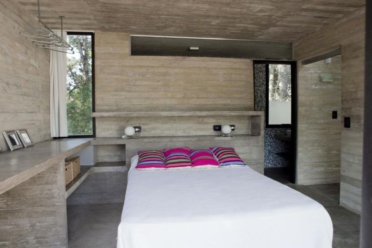 pared hormigon casa dormitorio cama grande ideas