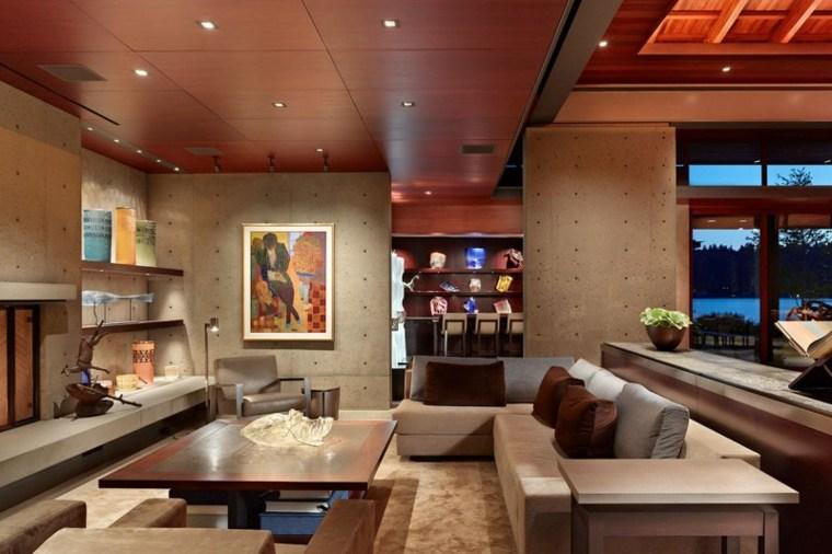 pared hormigon casa iluminacion LED salon ideas