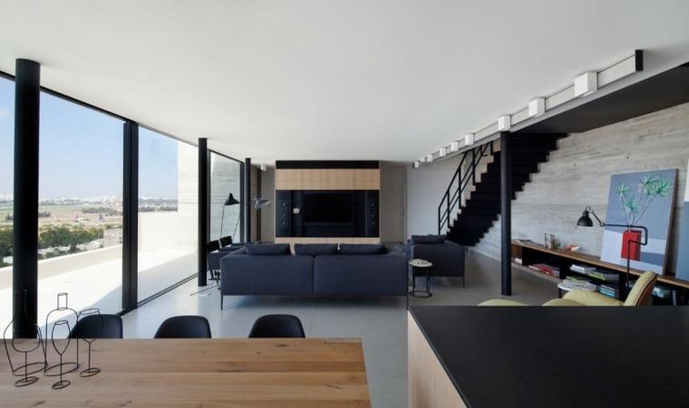 pared hormigon casa madera natural ideas