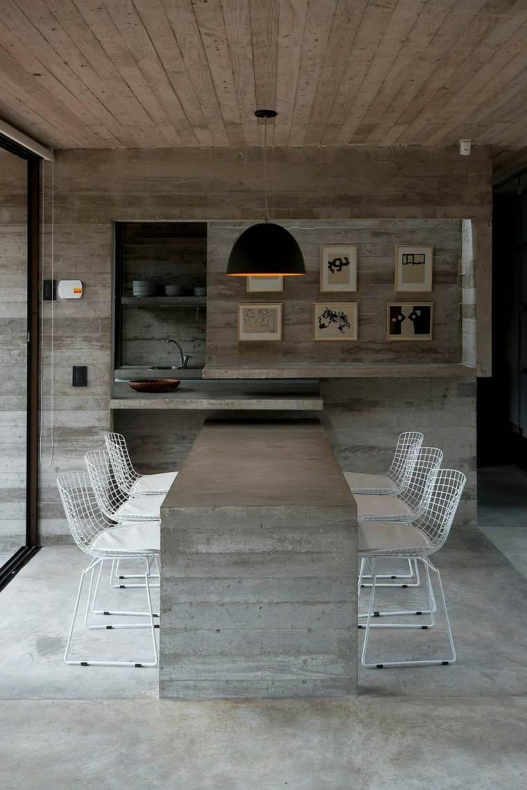 pared hormigon casa mesa hormigon cocina ideas