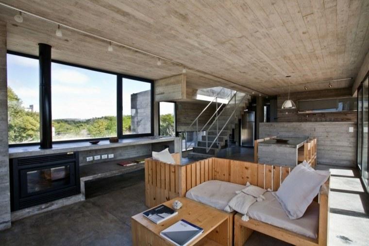 pared hormigon casa muebles madera ideas