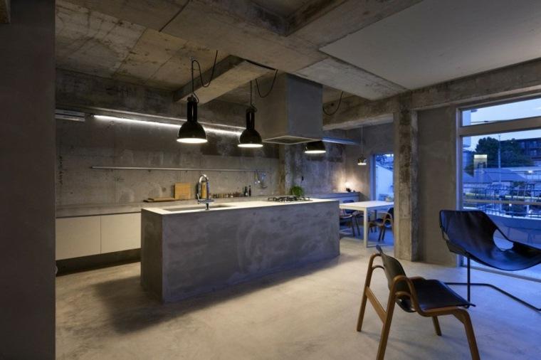 pared hormigon casa renovcacion cocina ideas
