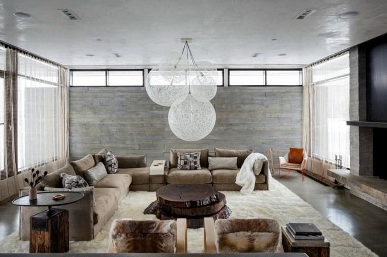pared hormigon casa salon acogedor ideas