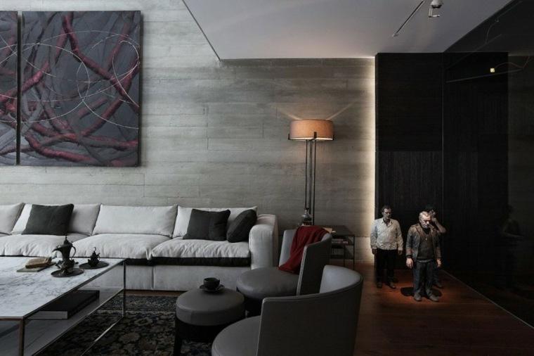pared hormigon casa salon diseno original ideas