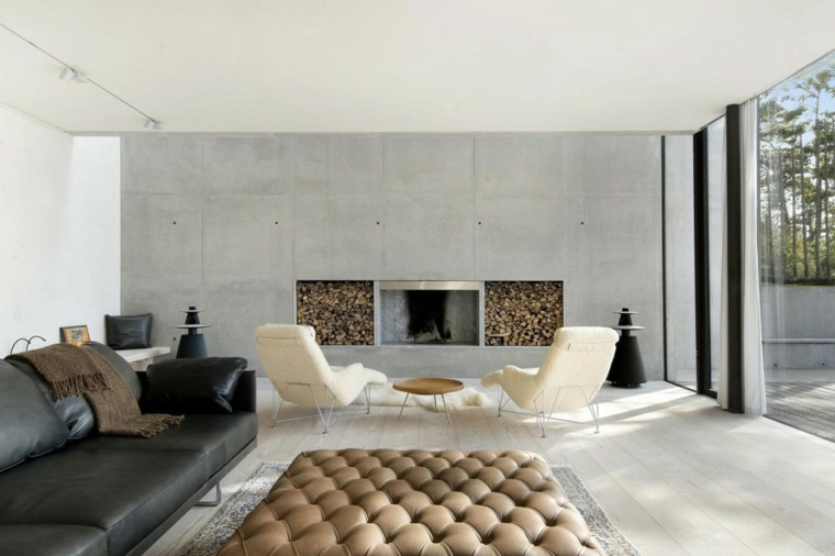 pared hormigon casa salon moderno chimenea ideas