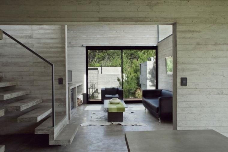 pared hormigon casa salon muebles cuero ideas