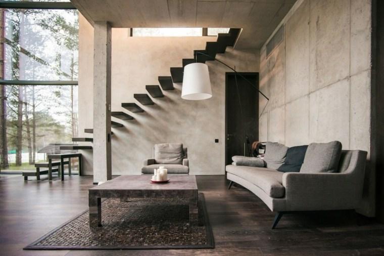 pared hormigon casa salon sofa gris ideas