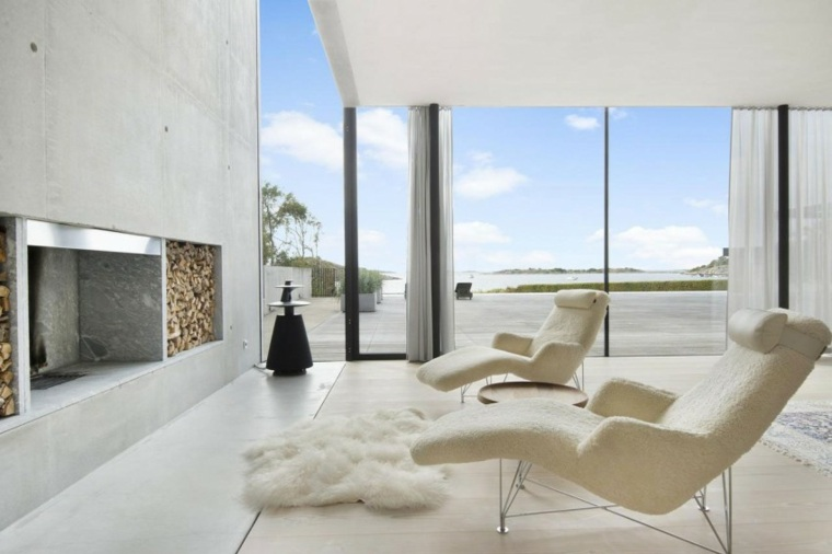 pared hormigon casa sillones blancos ideas