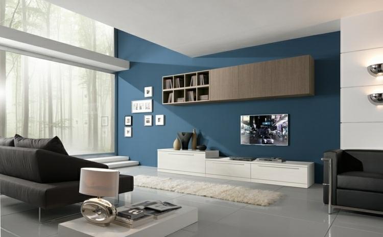 Color azul en las paredes de interior cincuenta dise os - Color pared salon ...