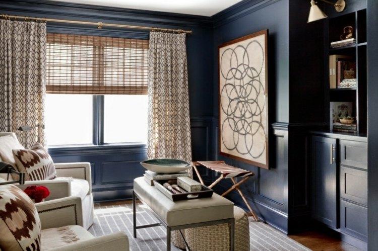 decoración paredes azules acabado brillante