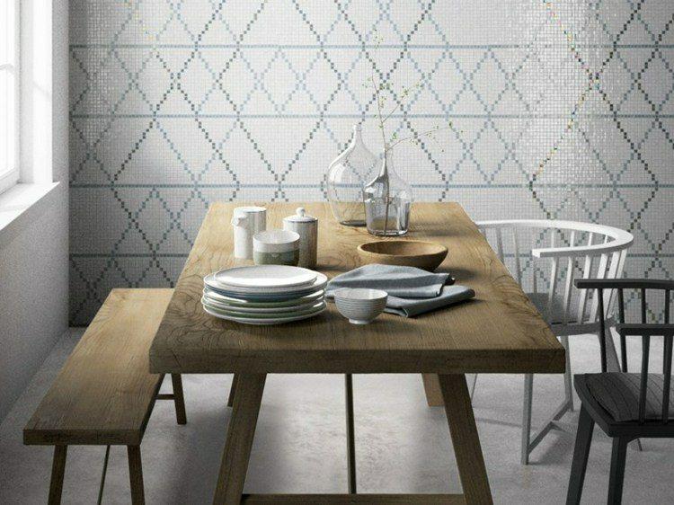 paredes comedor mosaico blanco
