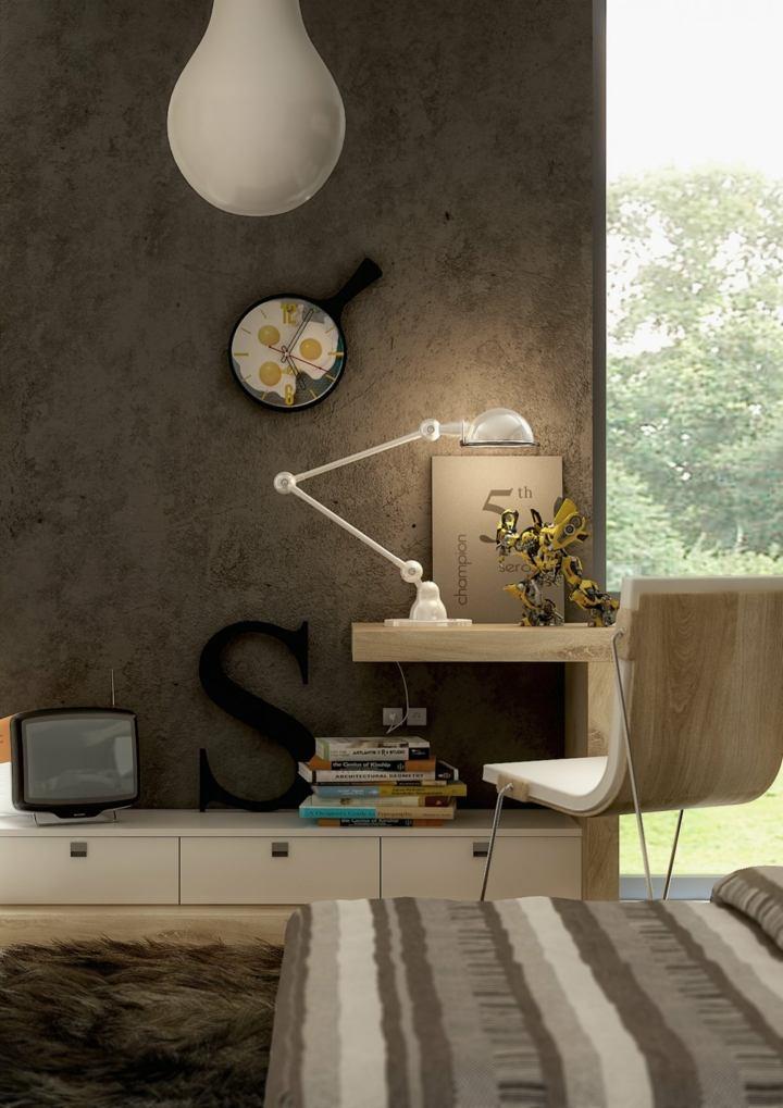 paredes estantes variados negro lamparas