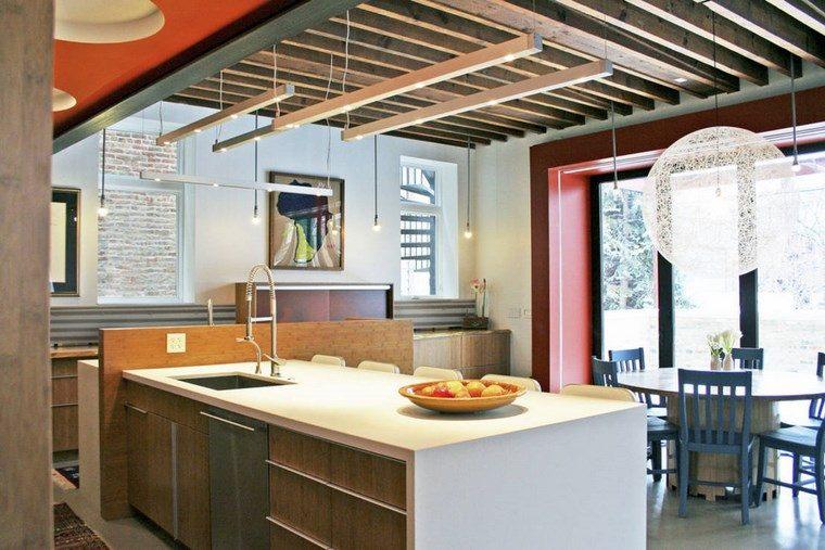paredes rojas cocina iluminacion led opciones interiores ideas