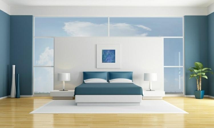 Color azul en las paredes de interior cincuenta dise os for Cuartos pintados de azul