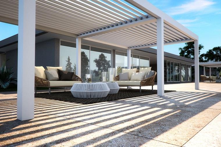 pergola aluminio blanca muebles diseno moderno ideas - Pergola De Aluminio