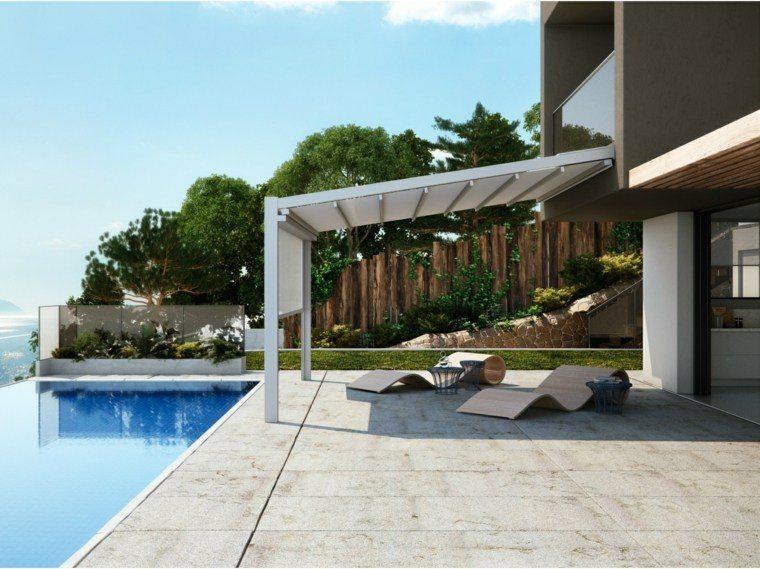 pergola jardin diseno tumbonas piscina casa moderna ideas