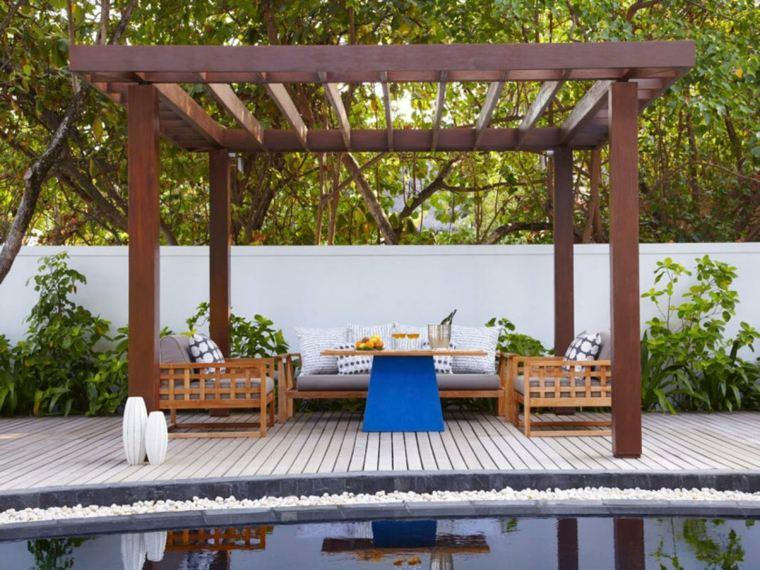 pergola madera jardin piscina bancos ideas