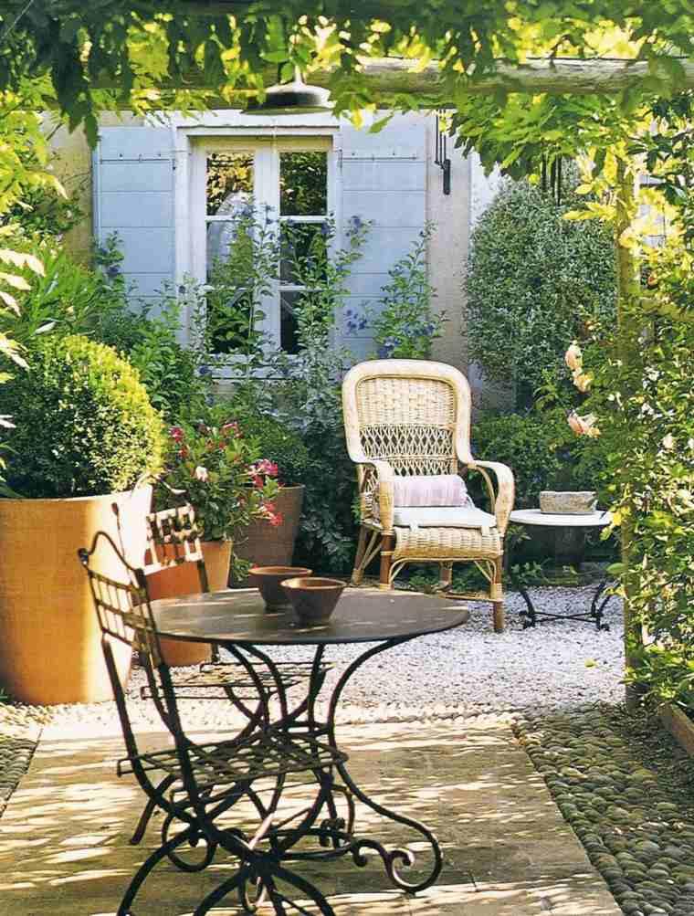 pergola madera muebles acero jardin casa ideas