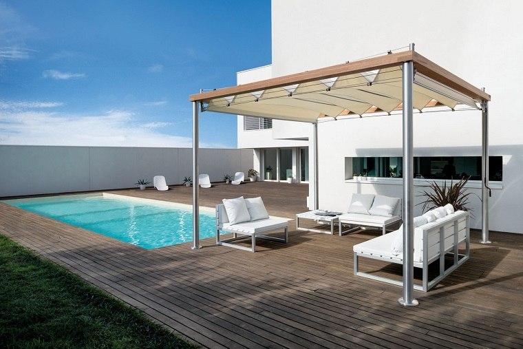 pergola terraza piscina muebles blancos diseno ideas
