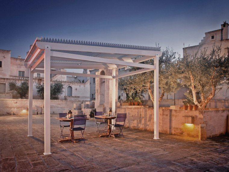 pergolas de aluminio blanco jardin valla suelo piedras ideas