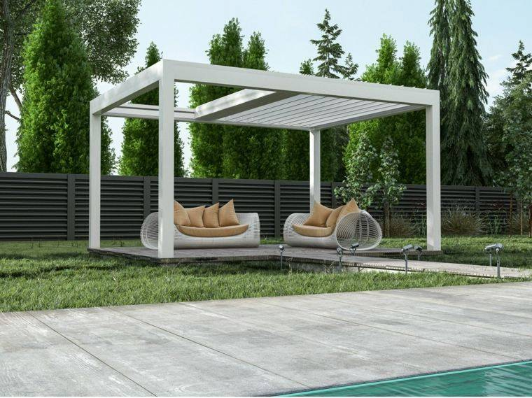 pergolas de aluminio o madera 60 ideas modernas. Black Bedroom Furniture Sets. Home Design Ideas