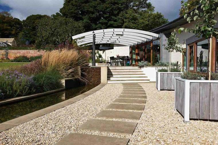 pergolas de aluminio forma original decorar jardin ideas