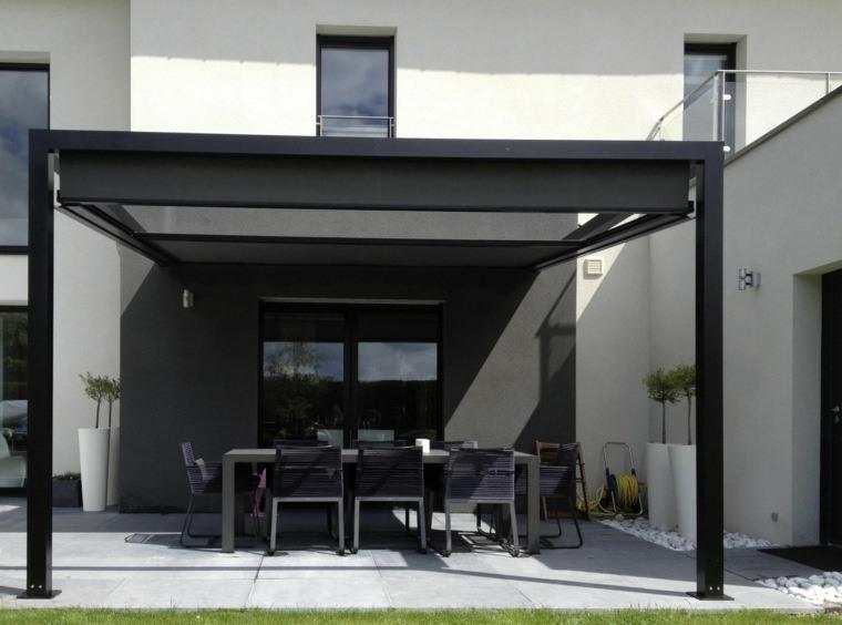 pergolas de aluminio negra elegante muebles negros terraza ideas