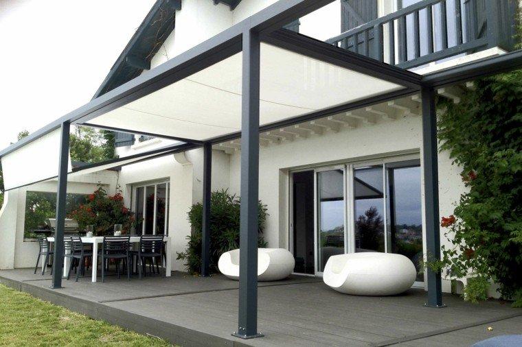 pergolas de aluminio negra tela blanca terraza ideas