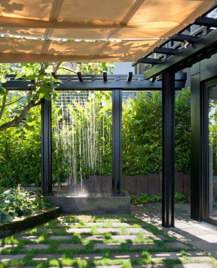 pergolas de aluminio negro estanque agua jardin ideas