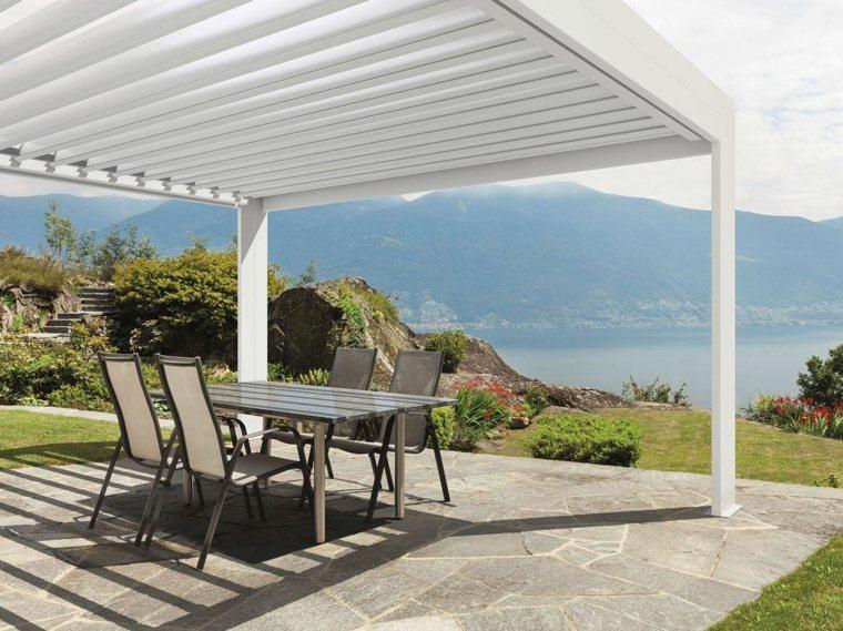 pergolas de aluminio vistas jardin amplio muebles comidas ideas