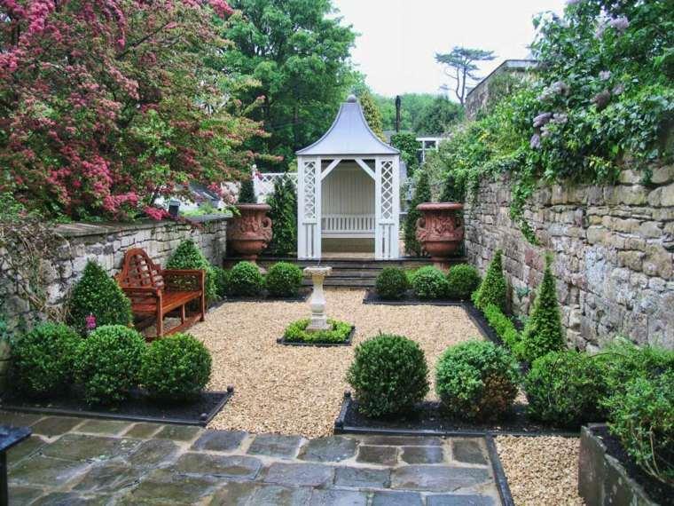 piedra grava suelo jardin gazebo blanco ideas
