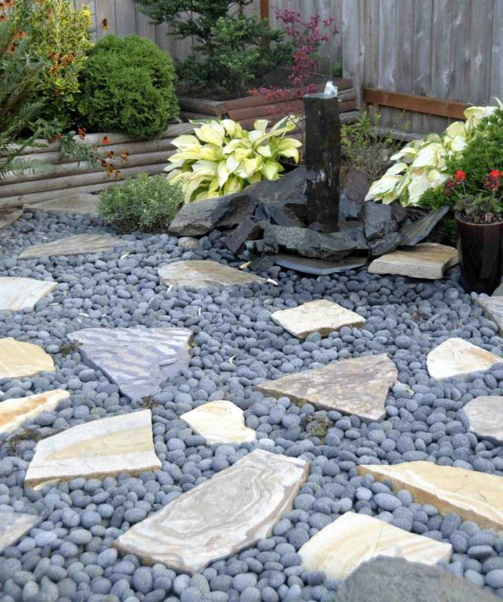 piedras para jardin lajas azules flores