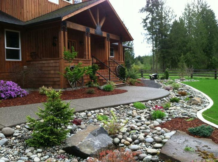 piedras para jardin madera cabañas lineas