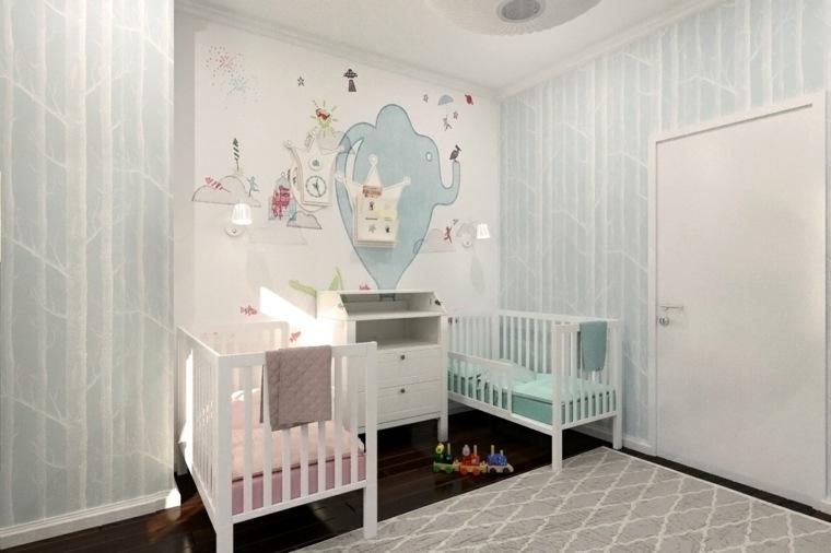Pintar paredes o poner papel de pared 50 habitaciones de - Pintar habitacion bebe nina ...