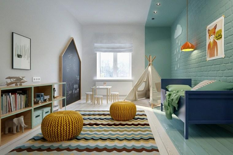 pintar paredes habitacion nino ladrillo pintado azul ideas