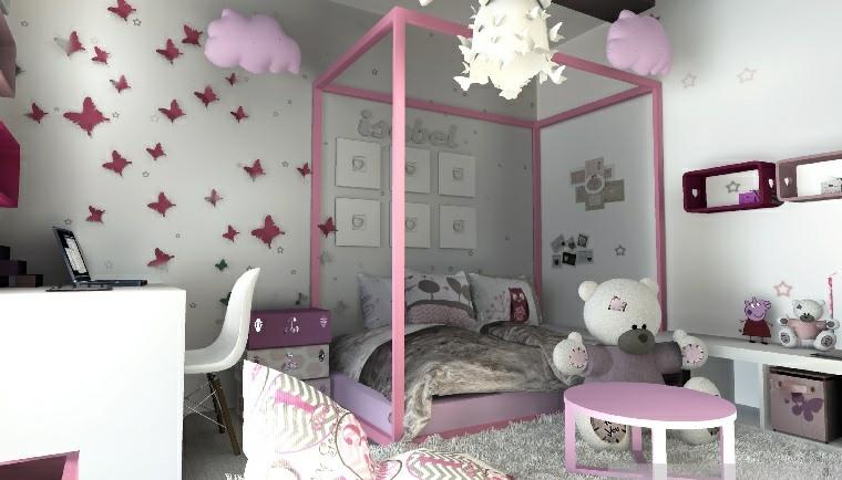 pintar paredes habitacion nino mariposas rosa ideas