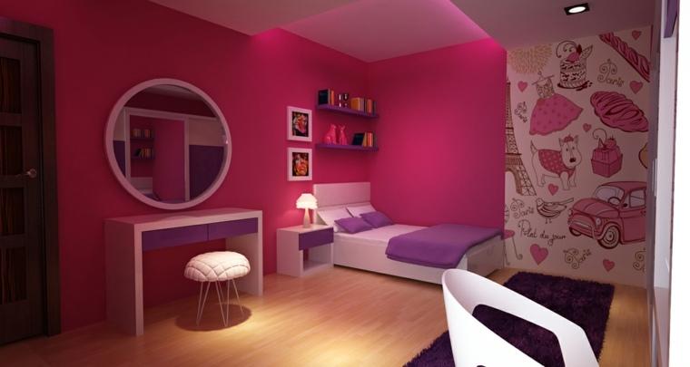 pintar paredes habitacion nino rosa oscuro ideas