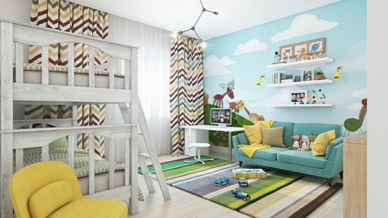 pintar paredes habitacion nino tema animales ideas