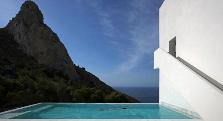 pool terrace mountain views